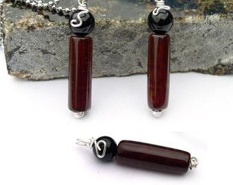 Dzi Agate with Black Onyx Pendant Necklace for Men Unisex Women