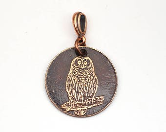 Copper owl pendant, small round flat bird jewelry, optional necklace, 25mm