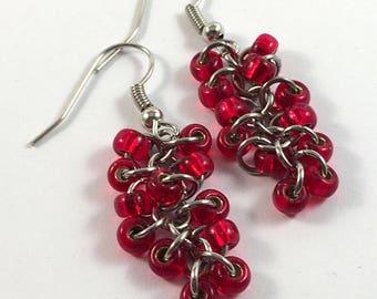 Red beaded earrings - Unusual chainmaille earrings