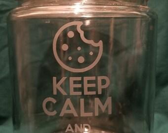 Keep Calm and Eat Cookies glass cookie jar