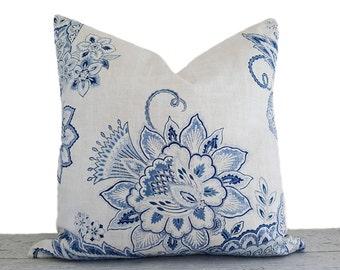 White Blue Floral Pillows, Designer Pillow Covers, Blue Pillows, Floral Cushions, Jacobean Pillows, Country Decor, Lumbar, 12x20, 20x20