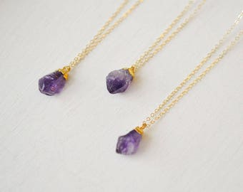 Raw Amethyst Necklace, Gold Amethyst Necklace, Amethyst Necklace, February Necklace, Amethyst Pendant (0208N)