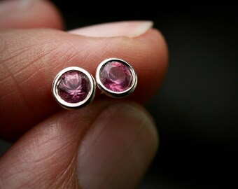 Natural pink tourmaline bezel set sterling silver martini stud earrings 4mm