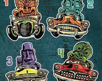 Tiki & Hot-rod stickers, tiki bar, kustom kulture, rockabilly, custom car, pin up, greaser, grearhead, punkrock, collector, limited edition