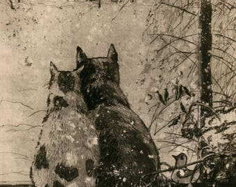 """Two cats. Art Original Etching by Zuev Aleksei, 8x8"""" engraving, cats art, friendship  painting, Brown Black White"""