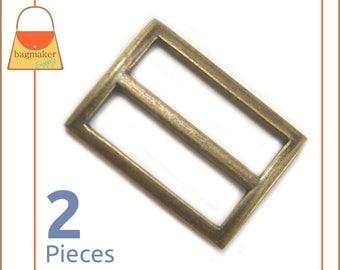"""1.25 Inch Center Bar Slide, Antique Brass / Bronze Finish, 2 Pack, 1-1/4"""", 1.25"""" Purse Supplies Strap Slider Buckle Hardware, BKS-AA076"""