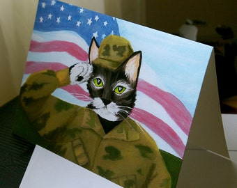 Army Soldier Cat Grey Tabby Greeting Card 5x7 with Envelope