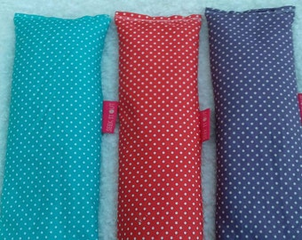 Polka Dot Print Microwaveable Wheat Packs /Bags Dorset Lavender or Unscented Great for aches, enstrual cramps, arthritis Purple, Red or Blue