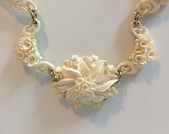 Stunning Vintage Floral Carved Celluloid Necklace