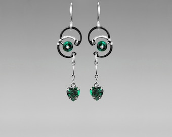 Green Swarovski Crystal Earrings, Industrial Wire Wrapped Earrings, Statement Earrings, Gift For Her by Youniquely Chic, Himalia II v8