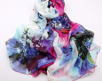 Floral Silk Scarf - Contrast Colored Chiffon Scarf with Floral Print - Floral Printed Silk Scarf  - AS2015-38