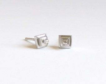 Imhotep Pyramid Studs - Sterling Silver