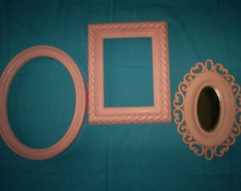 Set of 3, Pink ,2 Frames and a Mirror.