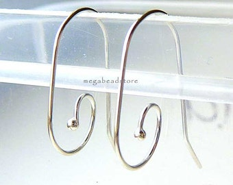 10 pcs 925 Sterling Silver Earwires Single Dot Ear Wire Earring Hooks F373