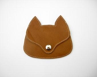light brown  leather  Fox pouch, fox coin purse, animal wallet, fox bag, neutral color