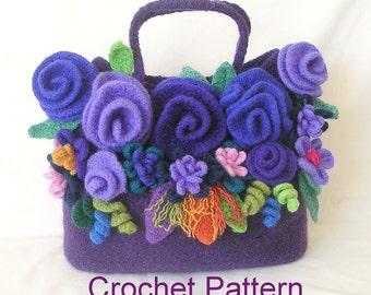 How to make Crochet Felted Flower Bag Pattern Tutorial, Crochet Bag Pattern, Instant Download