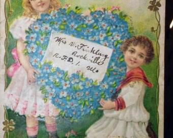 Vintage Victorian Postcard - Flowers, 4 leaf clover