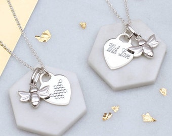 Personalised Sterling Silver Bee and Honeycomb Heart Necklace (HBN213 / M063)