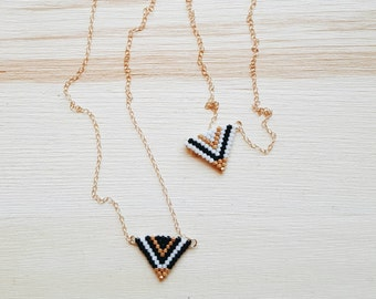 Moab Triangle Necklace // hand-beaded gold-filled necklace