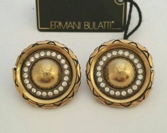 Signed Ermani Bulatti Earrings, Gold Tone with Clear Rhinestone Clip On Earrings, Couture Earrings