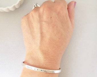 Personalized morse code sterling silver cuff bracelet • MC4mm