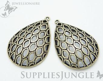 P064-AB// Antique Brass Plated Teardrop Pendant, 4pcs