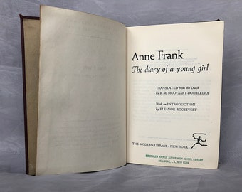 Diary of Anne Frank Book - Vintage Modern Library Book - Young Adult Memoir - Jewish History - World War 2 Book - War Diary