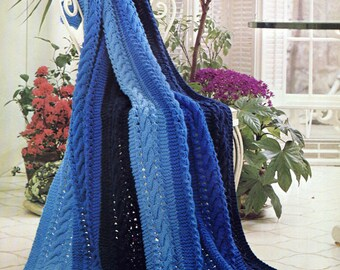 Striped Cable Knit Afghan Knitting Pattern, Simple Knitting Pattern, Christmas Gift Idea,  PDF INSTANT Download Pattern (2012)