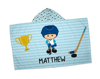 """Personalized Hooded Towel for Kids - Hockey Player Boy Blue Stripes Stick Puck, 24"""" x 42"""" Hooded Beach Towel"""