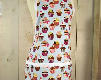 Cupcake  Adult Apron - Reversible apron, full apron, apron with pockets