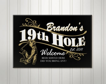 Personalized Golf Sign, 19th Hole ManCave Pub Sign, Personalized Sign, Personalized Beer Sign, Man Cave Bar Decor