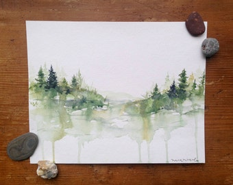 Among the Pines - Original Watercolor Painting