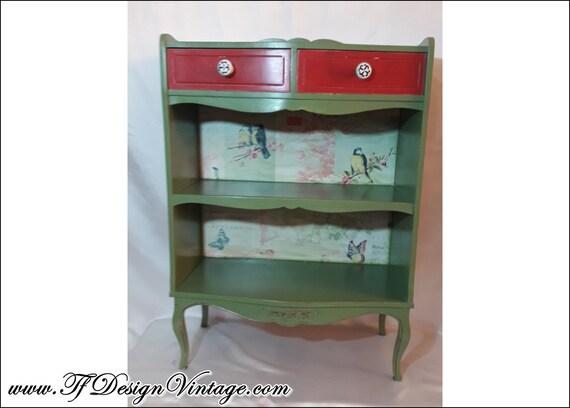 Consola mueble, Consola de madera estilo vintage, Mueble entrada verde, Mueble entrada pequeño, Consola con cajones, Librería pequeña madera