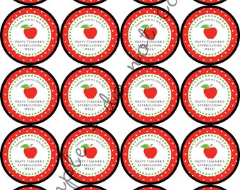 "INSTANT DOWNLOAD /Teacher Appreciation Week 2"" printable Party Circles / Cupcake Topper / Stickers / Thank You Tags"