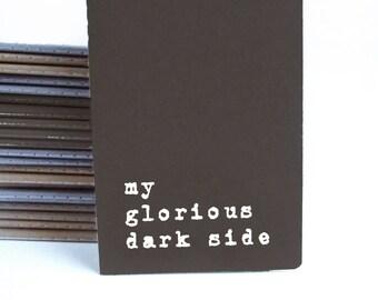 Valentine's Day Dark Side Notebook; Black Handprinted MOLESKINE® journal; Boyfriend gift; Girlfriend gift; Indie Goth Metal Rock
