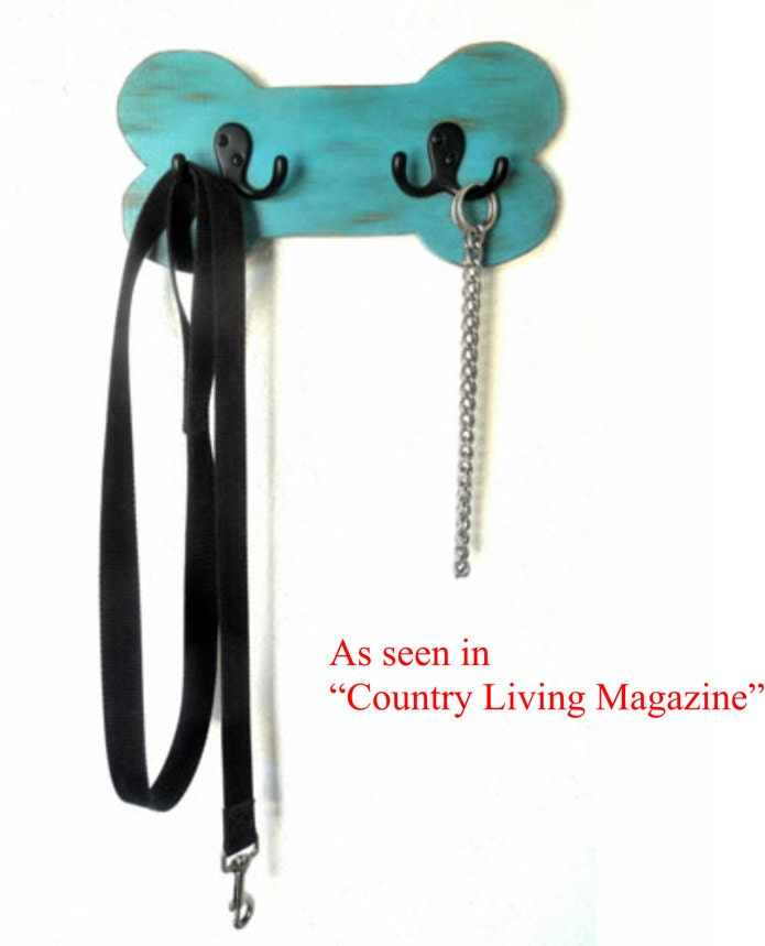 Dog leash Holder, Wood leash holder, Dog leash hook, distressed turquoise, pet lovers gift, free samples of dog treats