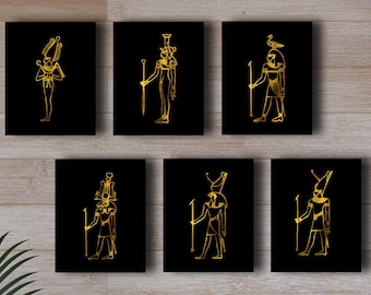 Egyptian Printable Set of 6 Gold Black Prints Ancient Egyptian Gods Historical Wall Decor Digital Art / Instant Download