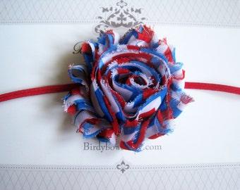 SALE, Shabby July 4th Headband, Baby Headband, Newborn Headband, Infant Headband, Baby Girl Bow, Infant Hair Bow,