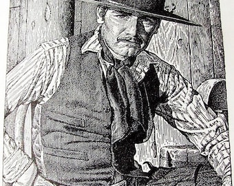 Cartes à collectionner John McCormack cow-boy illustration livre Shane 1954 brillant impression noir et blanc