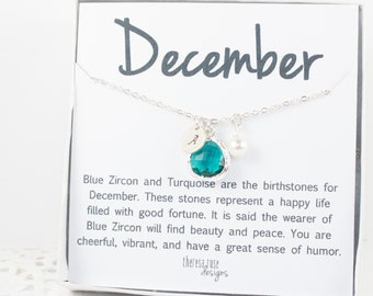 December Blue Zircon Birthstone Personalized Silver Necklace, Blue Zircon Necklace, December Birthday Jewelry, December Birthstone Jewelry