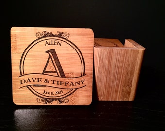 6 Personalized Bamboo Coasters with Holder