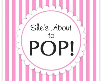Baby Shower About to Pop labels, Pink Stripes, Square About to Pop Stickers, Baby Shower Labels