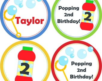 Bubble Party Circles - Rainbow Colors Polka Dots, Blue Stripes, Red Blowing Bubbles Birthday Party Circles - A Digital Printable File