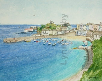 Tenby Wales mounted  art print from a watercolour and pen line painting by Lynne Kirby