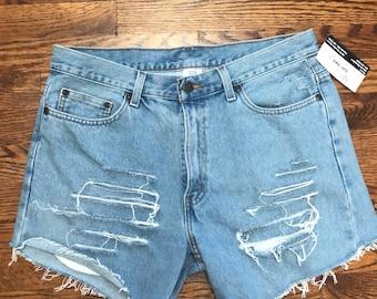 High Waisted Denim Cut Off Shorts - Size 34 x 29