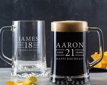 Personalised Engraved Pint Glass Tankard / 18th Birthday Gifts For Boys / Personalised 21st Birthday Gifts for Men