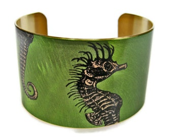 Seahse cuff bracelet brass   free shipping to USA Gifts for her