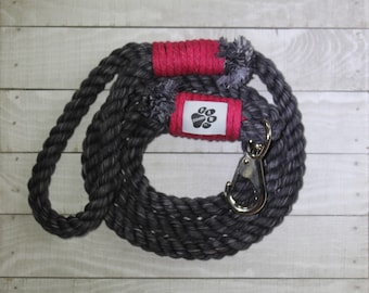 Black and Hot Pink Rope Dog Leash - 100% Cotton Rope - Dog Leash - Pet Collars and Leashes