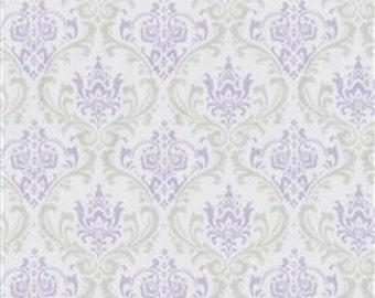 Pick Your YardageBaby Lavender/Gray/Silver Damask  Print 100% Cotton Twill  Fabric
