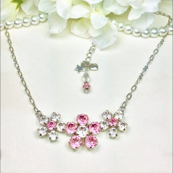 Swarovski Crystal Necklace - 8.5mm, 6mm - Lt.Rose and Clear Crystals -  Three Flower Pendant - Sparkle & Shimmer - FREE SHIPPING
